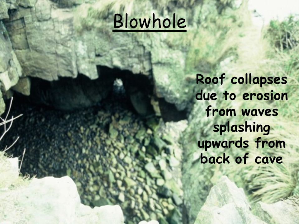 Blowhole Roof collapses due to erosion from waves splashing upwards from back of cave