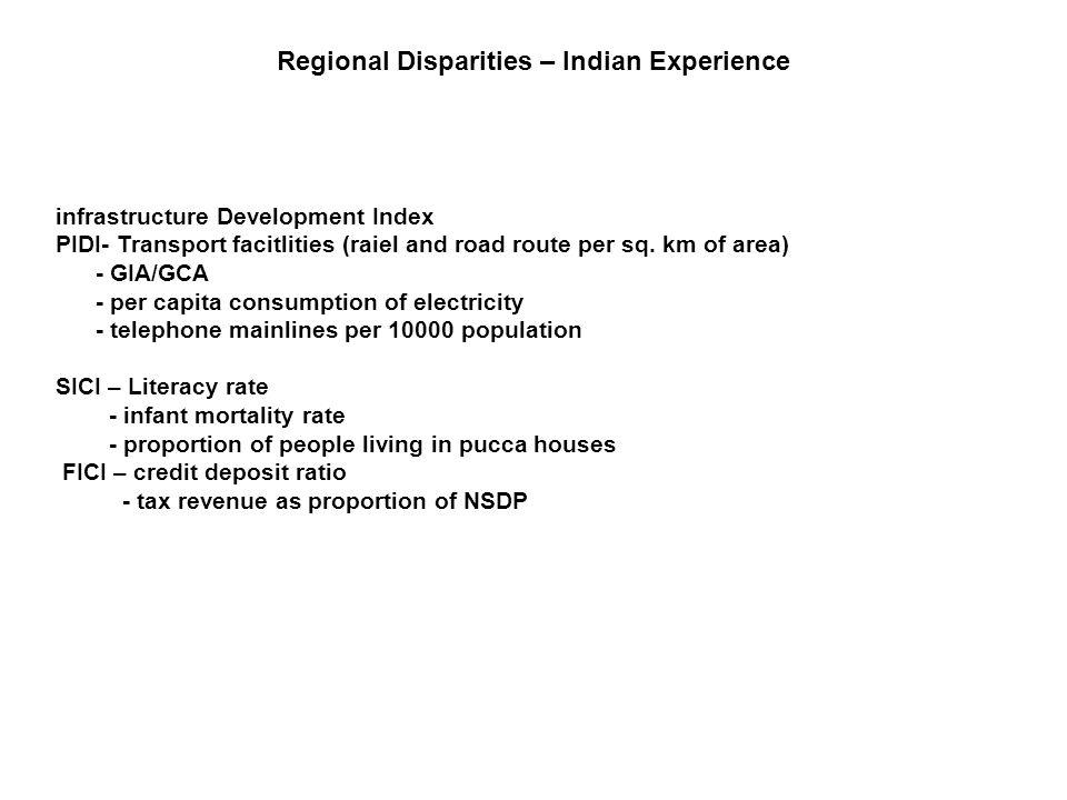 infrastructure Development Index PIDI- Transport facitlities (raiel and road route per sq. km of area) - GIA/GCA - per capita consumption of electrici
