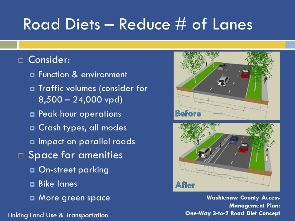 Linking Land Use & Transportation Road Diets – Reduce # of Lanes  Consider:  Function & environment  Traffic volumes (consider for 8,500 – 24,000 v