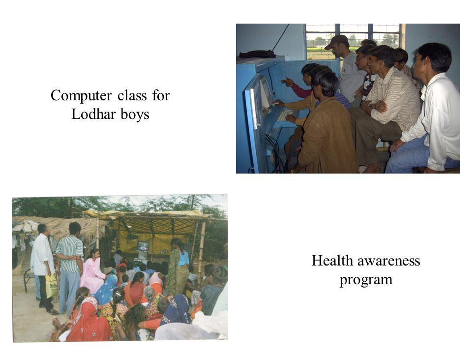 Computer class for Lodhar boys Health awareness program