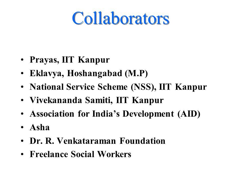 Collaborators Prayas, IIT Kanpur Eklavya, Hoshangabad (M.P) National Service Scheme (NSS), IIT Kanpur Vivekananda Samiti, IIT Kanpur Association for India's Development (AID) Asha Dr.