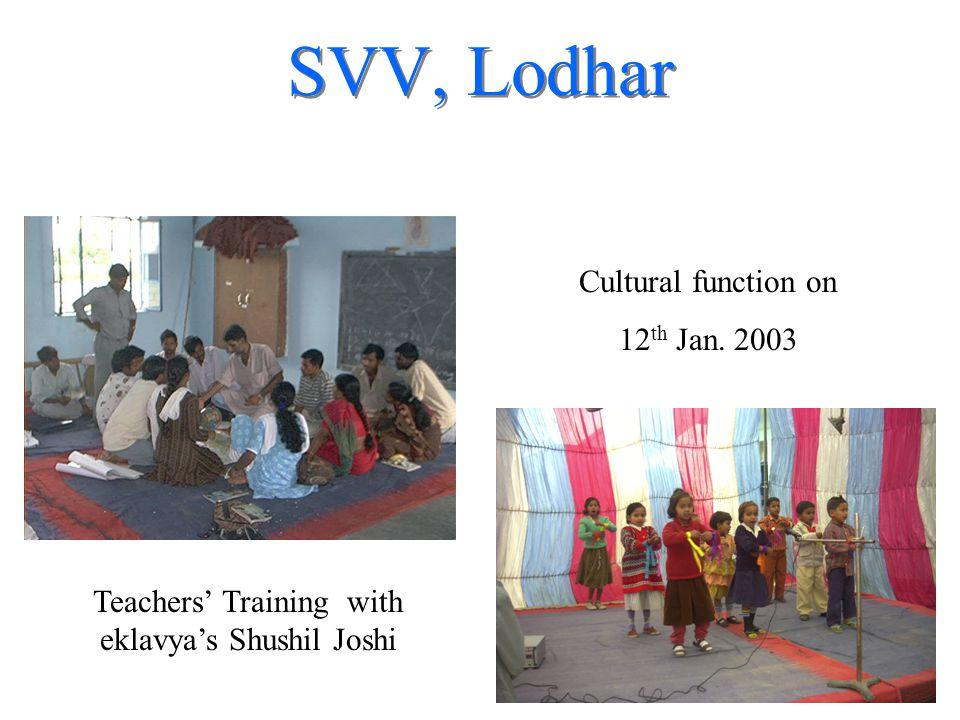 SVV, Lodhar Teachers' Training with eklavya's Shushil Joshi Cultural function on 12 th Jan. 2003