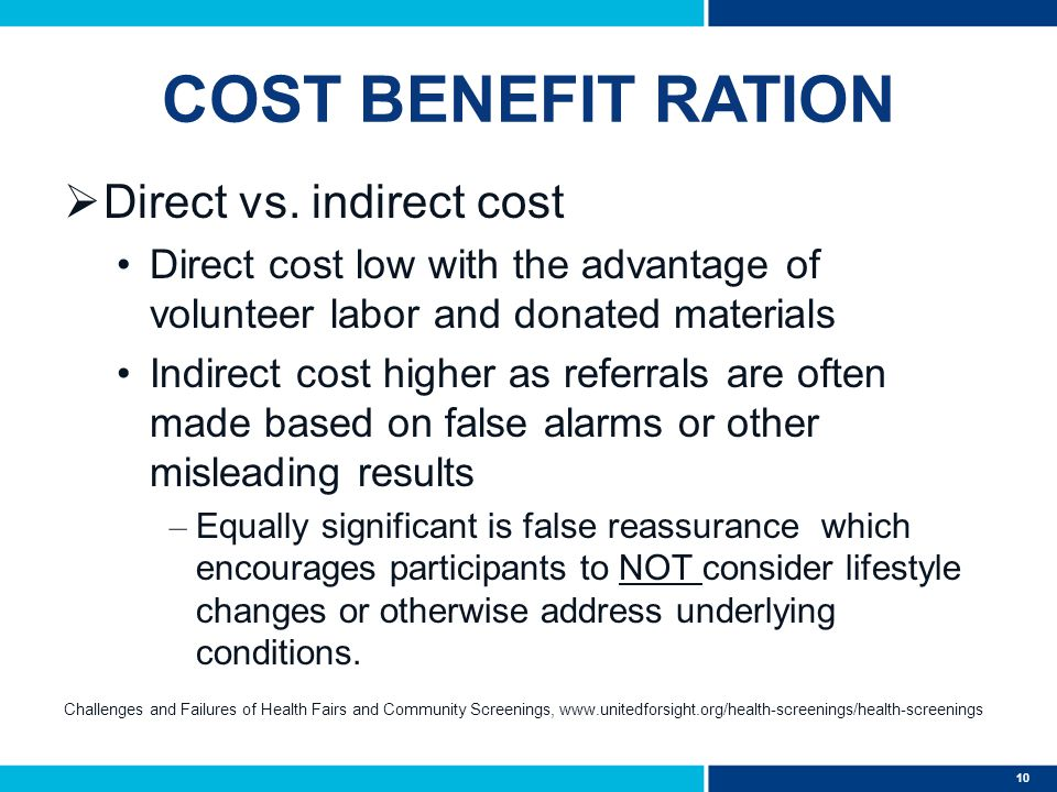 10 COST BENEFIT RATION  Direct vs. indirect cost Direct cost low with the advantage of volunteer labor and donated materials Indirect cost higher as