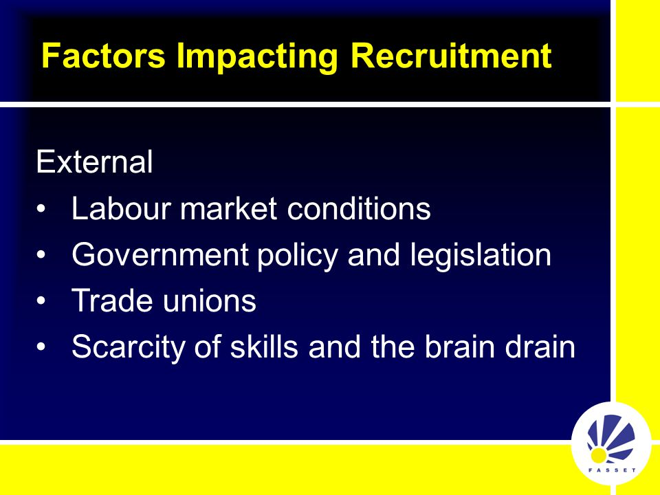 Factors Impacting Recruitment External Labour market conditions Government policy and legislation Trade unions Scarcity of skills and the brain drain
