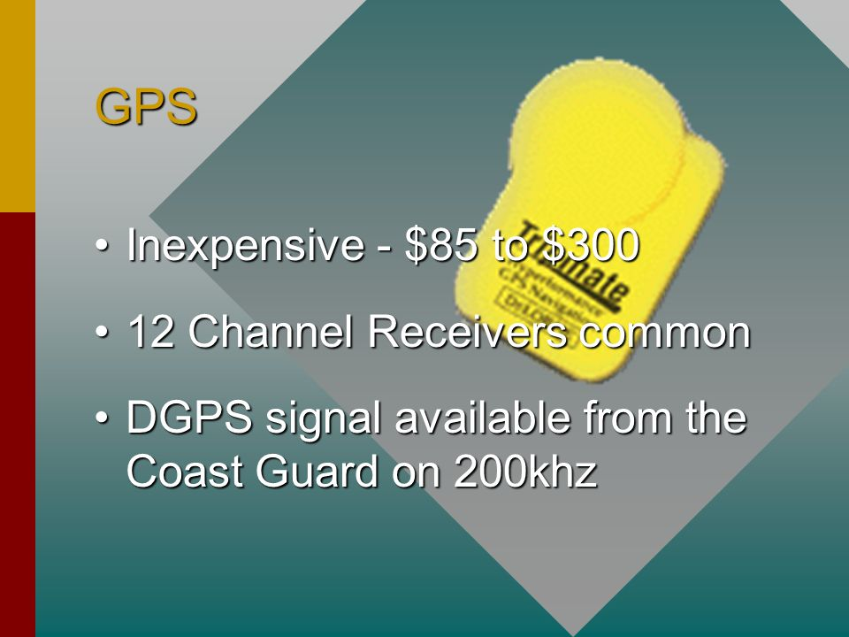 GPS Inexpensive - $85 to $300Inexpensive - $85 to $300 12 Channel Receivers common12 Channel Receivers common DGPS signal available from the Coast Guard on 200khzDGPS signal available from the Coast Guard on 200khz