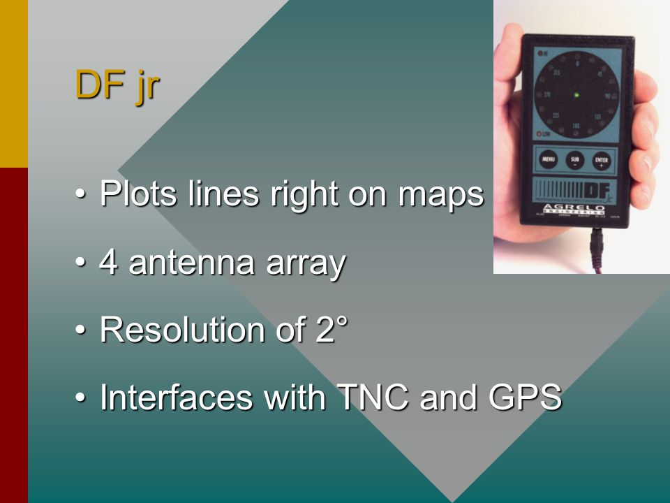 DF jr Plots lines right on mapsPlots lines right on maps 4 antenna array4 antenna array Resolution of 2°Resolution of 2° Interfaces with TNC and GPSInterfaces with TNC and GPS