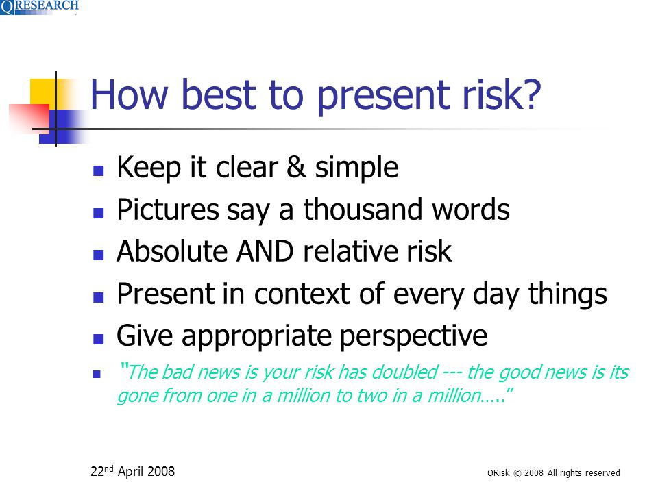 22 nd April 2008 QRisk © 2008 All rights reserved How best to present risk.