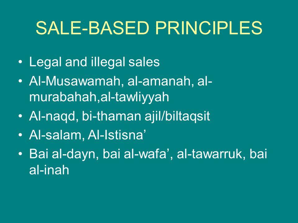 SALE-BASED PRINCIPLES Legal and illegal sales Al-Musawamah, al-amanah, al- murabahah,al-tawliyyah Al-naqd, bi-thaman ajil/biltaqsit Al-salam, Al-Istis