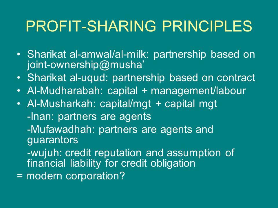 PROFIT-SHARING PRINCIPLES Sharikat al-amwal/al-milk: partnership based on joint-ownership@musha' Sharikat al-uqud: partnership based on contract Al-Mu