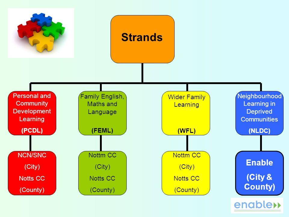 Strands Personal and Community Development Learning (PCDL) Family English, Maths and Language (FEML) Wider Family Learning (WFL) Neighbourhood Learning in Deprived Communities (NLDC) NCN/SNC (City) Notts CC (County) Nottm CC (City) Notts CC (County) Nottm CC (City) Notts CC (County) Enable (City & County)