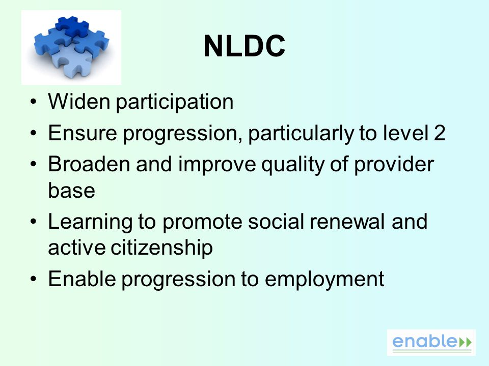 NLDC Widen participation Ensure progression, particularly to level 2 Broaden and improve quality of provider base Learning to promote social renewal and active citizenship Enable progression to employment