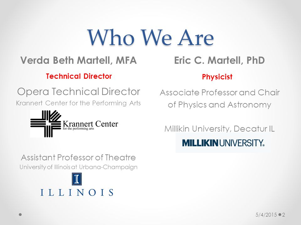 Who We Are Eric C. Martell, PhD Associate Professor and Chair of Physics and Astronomy Millikin University, Decatur IL 5/4/2015 2 Verda Beth Martell,
