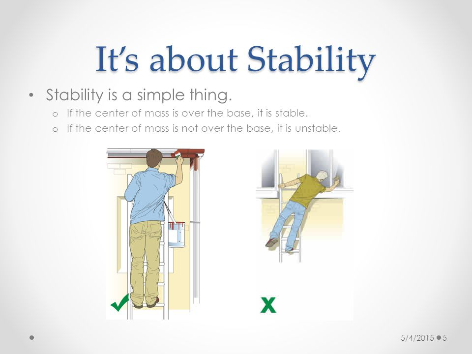 It's about Stability Stability is a simple thing. o If the center of mass is over the base, it is stable. o If the center of mass is not over the base