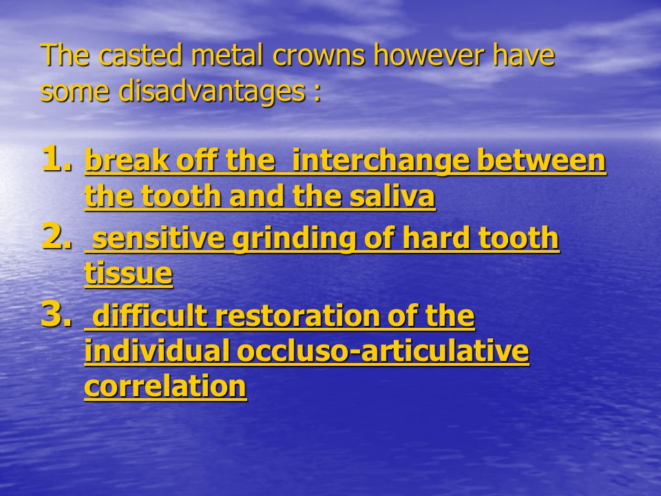 The use of inlays without cuspal coverage as retainers in a fixed-fixed bridge, involves a risk that the weaker retainer will eventually fail at the cement seal between retainer and abutment tooth.The reason is that the abutment tooth can be depressed in the socket, whilst the retainer is supported by the remainder of the bridge.