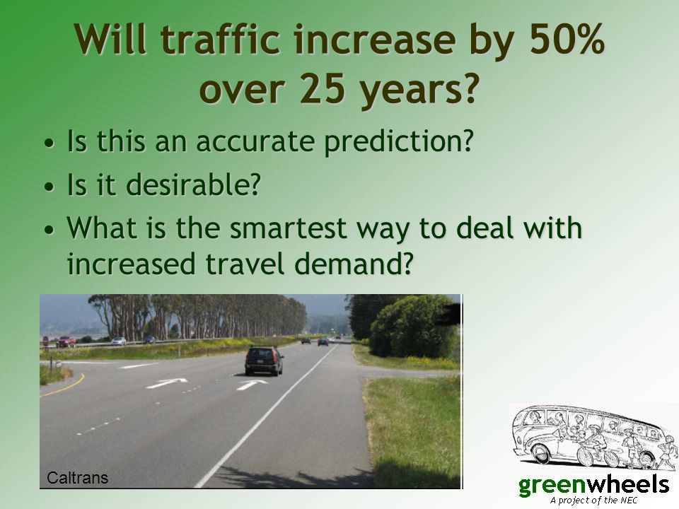 Will traffic increase by 50% over 25 years.