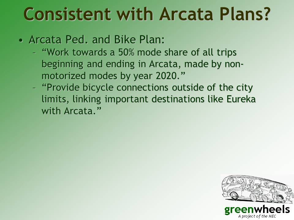 Consistent with Arcata Plans. Arcata Ped. and Bike Plan:Arcata Ped.