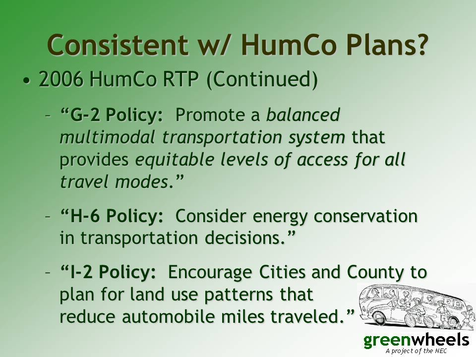 Consistent w/ HumCo Plans.