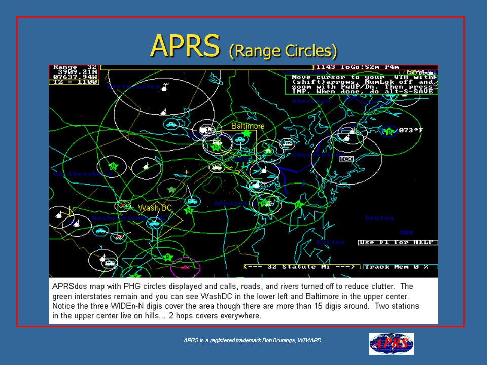 APRS is a registered trademark Bob Bruninga, WB4APR APRS (Range Circles)