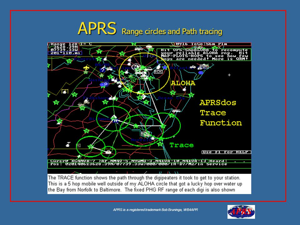 APRS is a registered trademark Bob Bruninga, WB4APR APRS Range circles and Path tracing