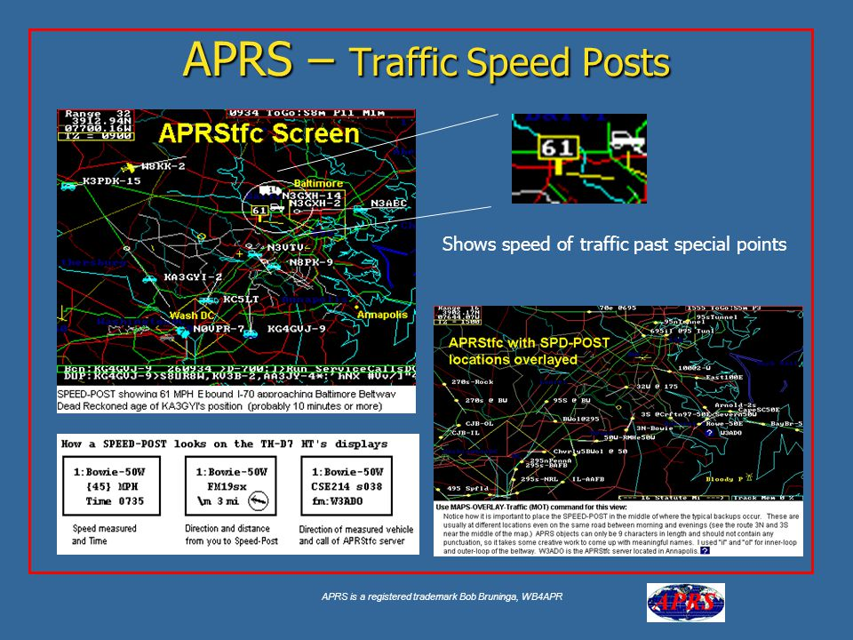 APRS is a registered trademark Bob Bruninga, WB4APR APRS – Traffic Speed Posts Shows speed of traffic past special points