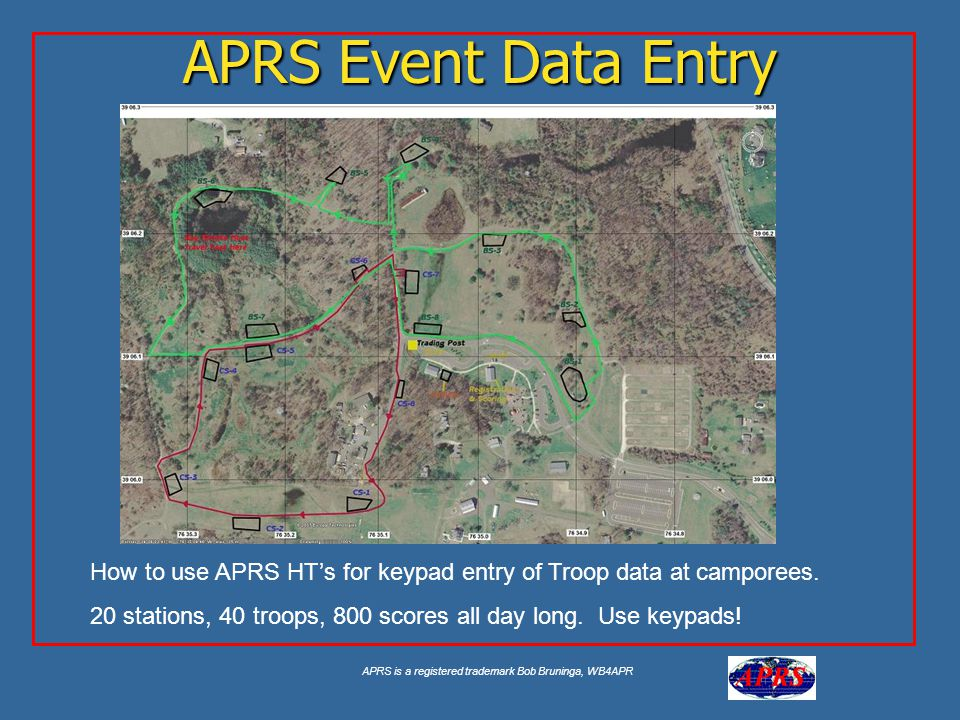 APRS is a registered trademark Bob Bruninga, WB4APR APRS Event Data Entry How to use APRS HT's for keypad entry of Troop data at camporees.