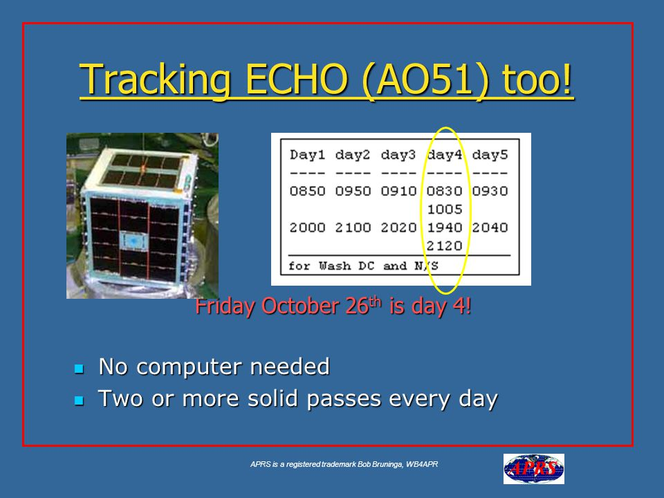 APRS is a registered trademark Bob Bruninga, WB4APR Tracking ECHO (AO51) too! No computer needed No computer needed Two or more solid passes every day