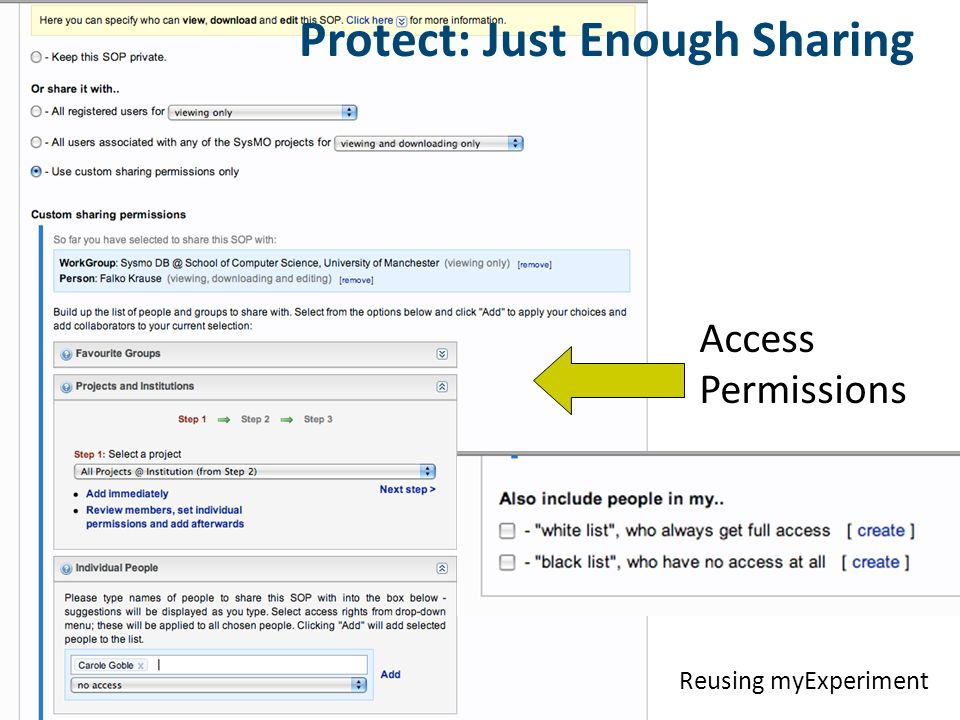 Access Permissions Protect: Just Enough Sharing Reusing myExperiment