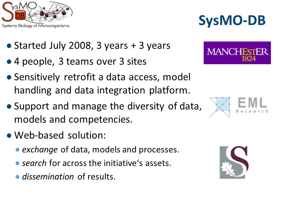 Started July 2008, 3 years + 3 years 4 people, 3 teams over 3 sites Sensitively retrofit a data access, model handling and data integration platform.