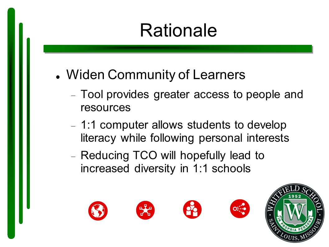 Rationale Widen Community of Learners  Tool provides greater access to people and resources  1:1 computer allows students to develop literacy while following personal interests  Reducing TCO will hopefully lead to increased diversity in 1:1 schools