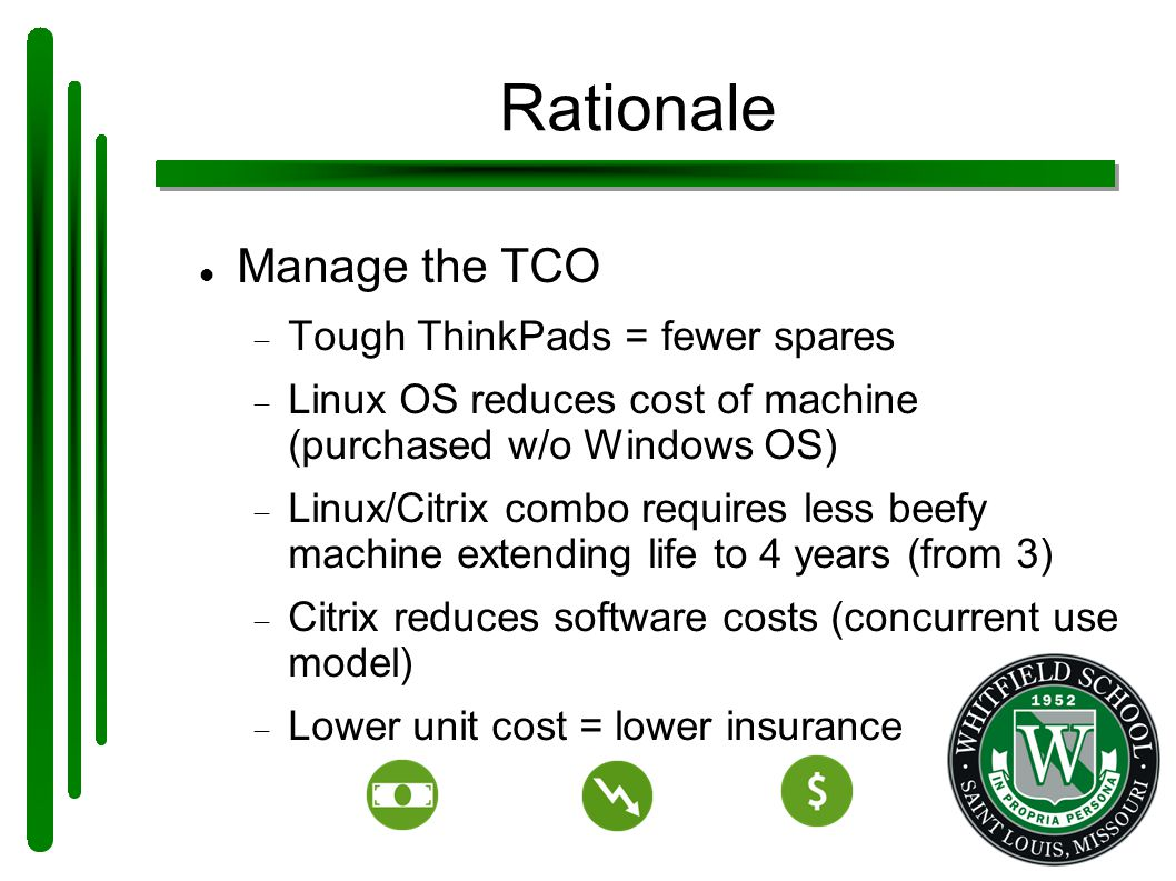 Rationale Manage the TCO  Tough ThinkPads = fewer spares  Linux OS reduces cost of machine (purchased w/o Windows OS)  Linux/Citrix combo requires less beefy machine extending life to 4 years (from 3)  Citrix reduces software costs (concurrent use model)  Lower unit cost = lower insurance