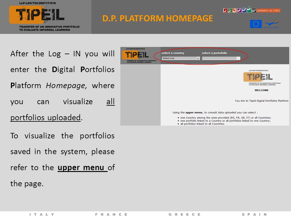 After the Log – IN you will enter the Digital Portfolios Platform Homepage, where you can visualize all portfolios uploaded.