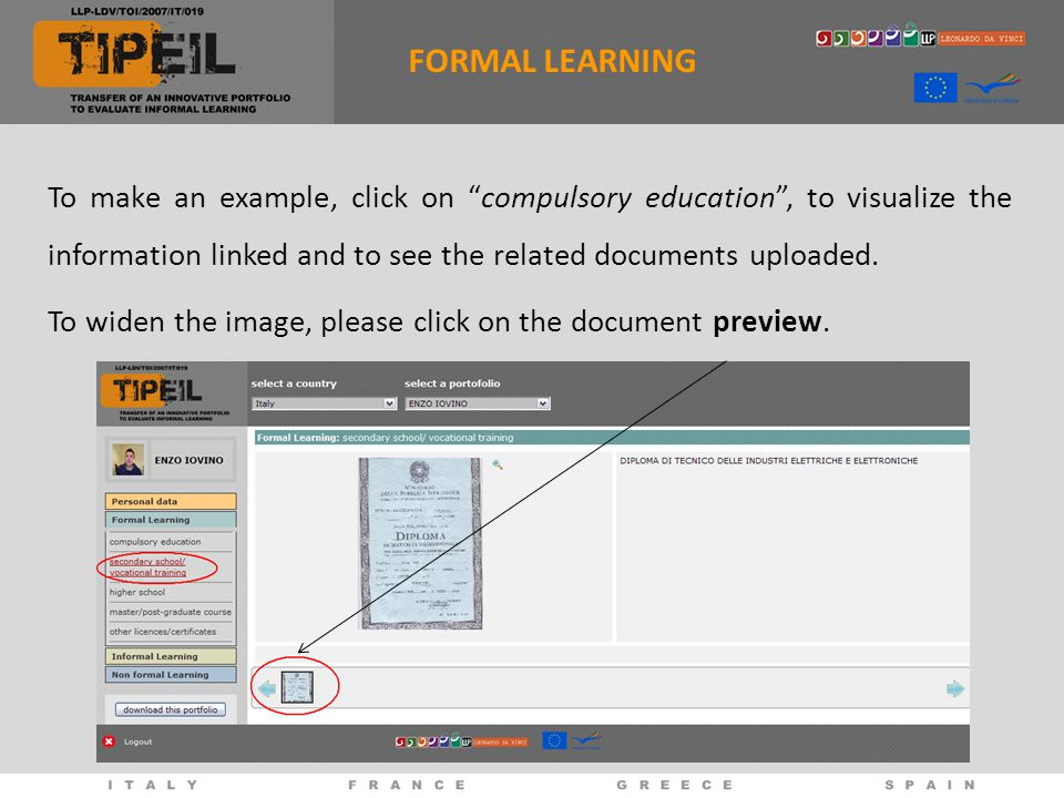 To make an example, click on compulsory education , to visualize the information linked and to see the related documents uploaded.