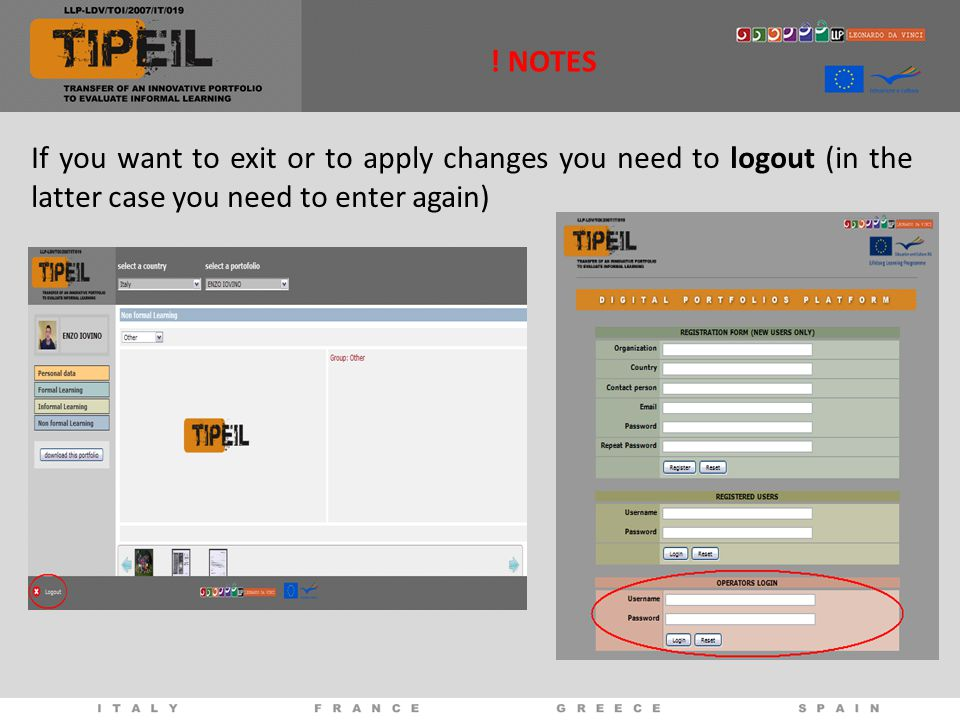 ! NOTES If you want to exit or to apply changes you need to logout (in the latter case you need to enter again)