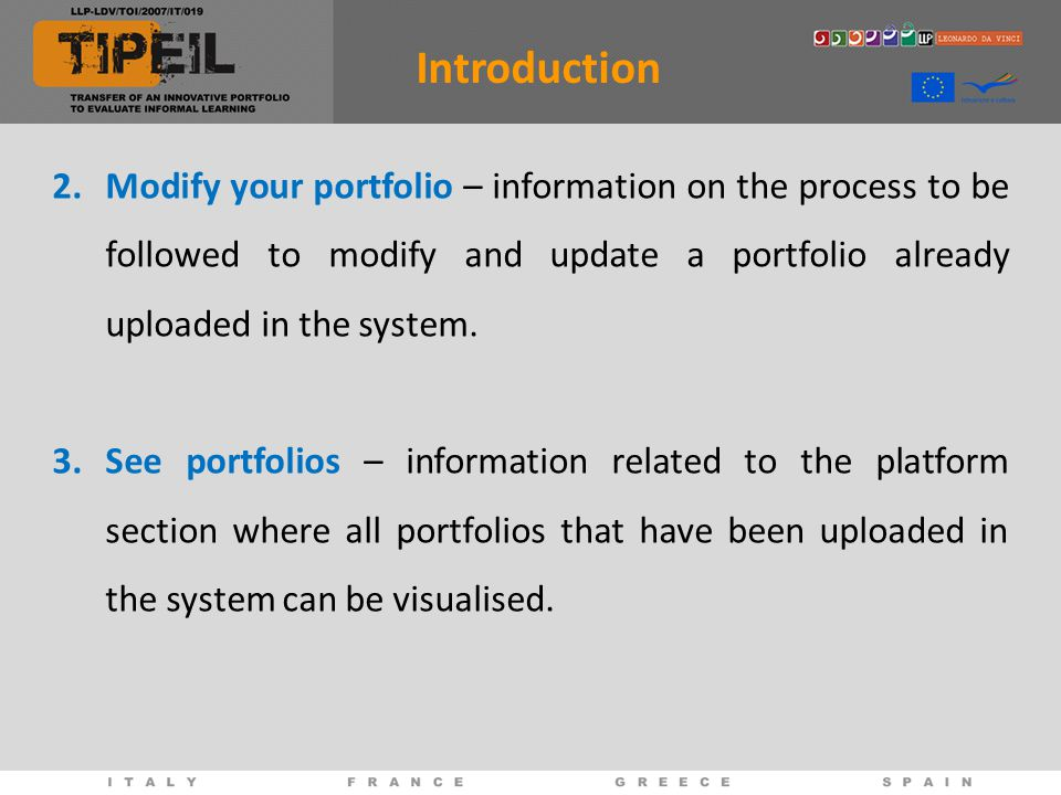 Now you can start the creation and uploading of your own digital portfolio!