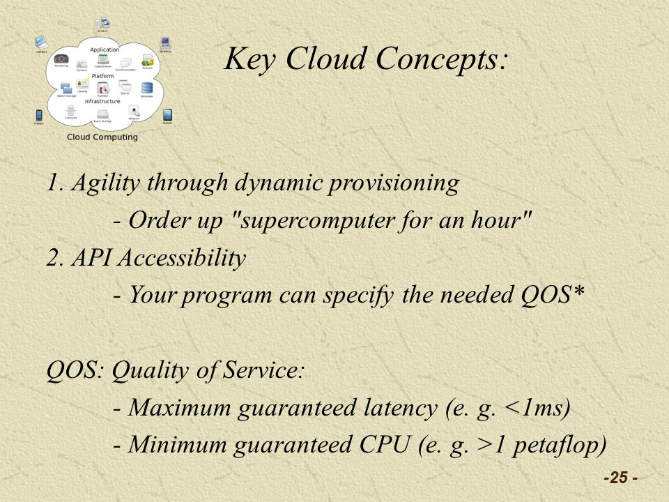 1. Agility through dynamic provisioning - Order up supercomputer for an hour 2.