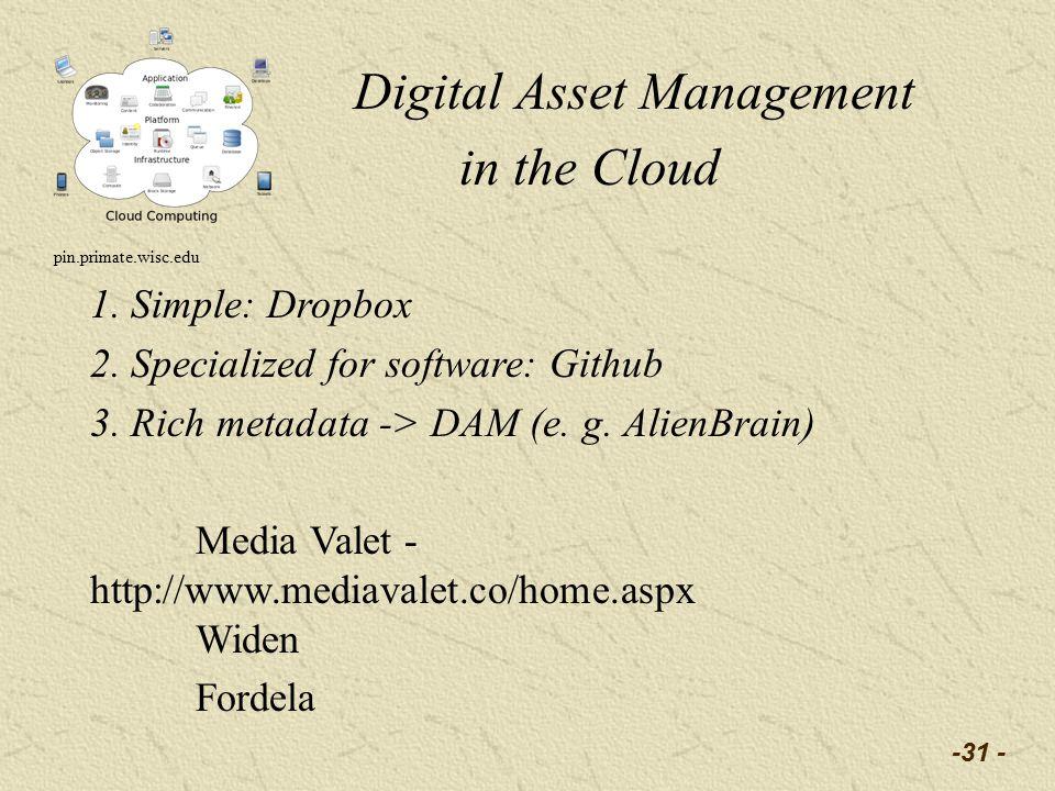 -31 - Digital Asset Management in the Cloud pin.primate.wisc.edu 1.
