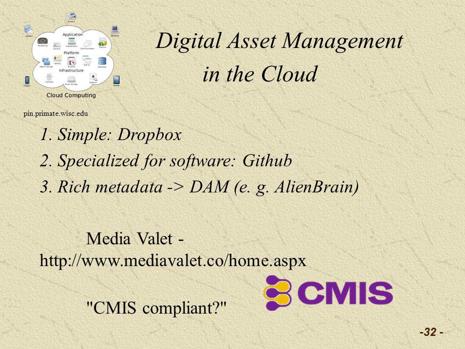 -32 - Digital Asset Management in the Cloud pin.primate.wisc.edu 1.
