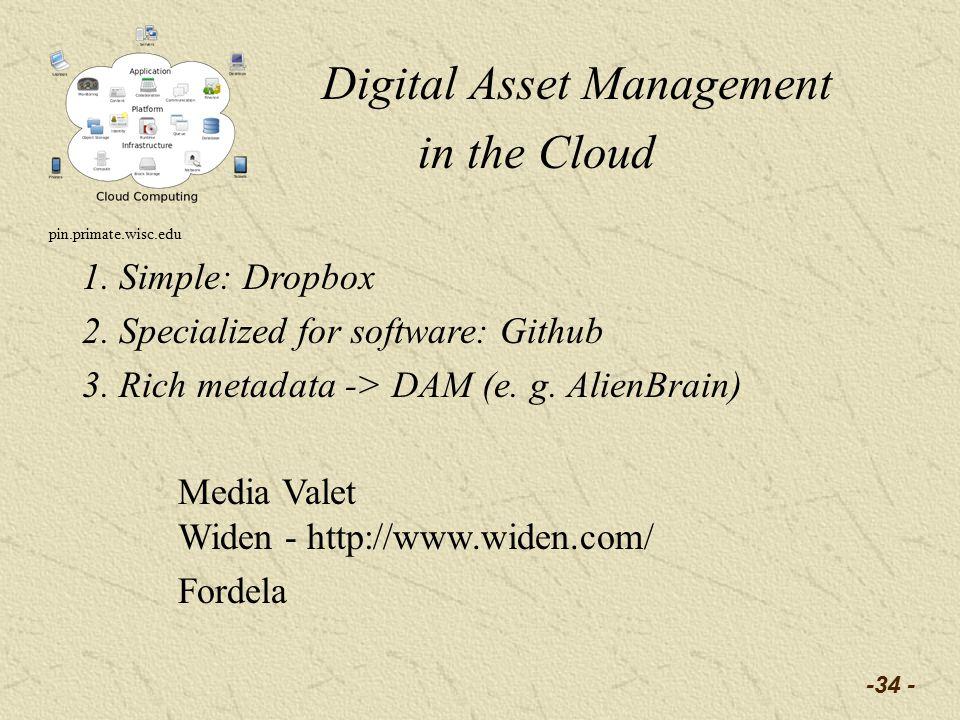 -34 - Digital Asset Management in the Cloud pin.primate.wisc.edu 1.