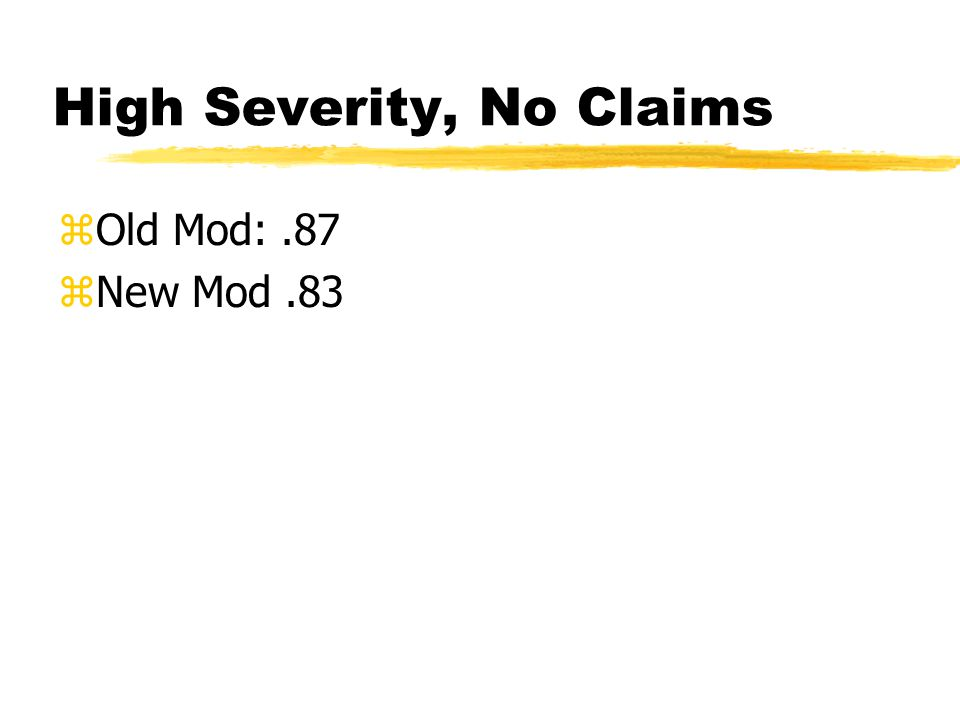 High Severity, No Claims zOld Mod:.87 zNew Mod.83