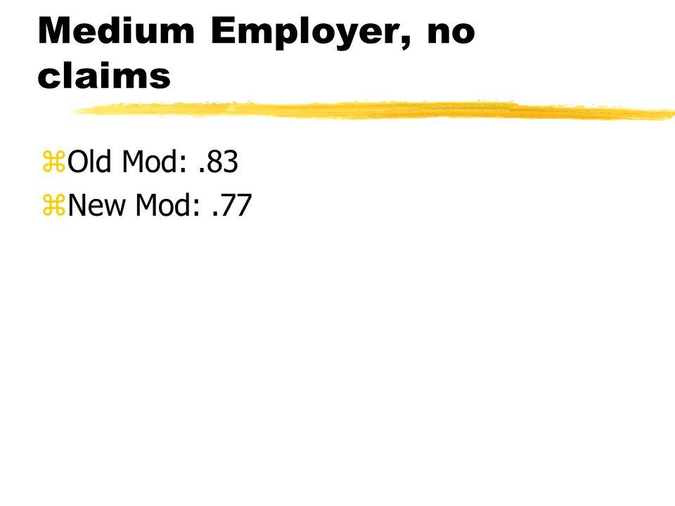 Medium Employer, no claims zOld Mod:.83 zNew Mod:.77
