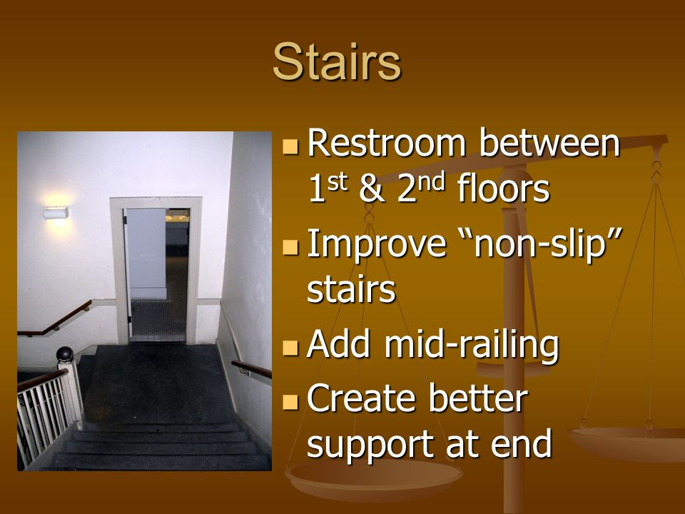 Stairs Restroom between 1 st & 2 nd floors Restroom between 1 st & 2 nd floors Improve non-slip stairs Improve non-slip stairs Add mid-railing Add mid-railing Create better support at end Create better support at end