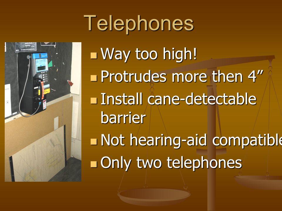 Telephones Way too high. Way too high.