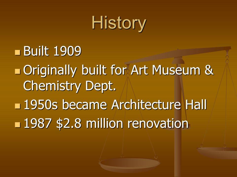 History Built 1909 Built 1909 Originally built for Art Museum & Chemistry Dept.