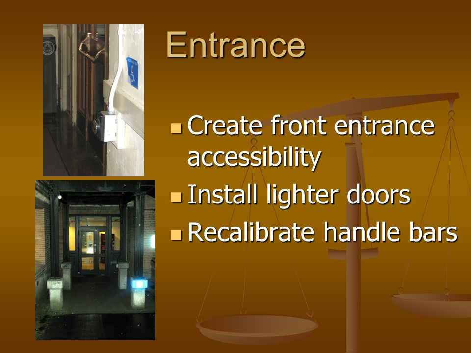 Drinking Fountains Slightly higher then required by ADA Slightly higher then required by ADA Add buttons to side and front Add buttons to side and front Protrudes more then 4 Protrudes more then 4 Install cane-detectable barrier Install cane-detectable barrier