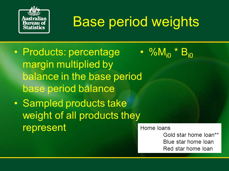 Base period weights Products: percentage margin multiplied by balance in the base period base period balance Sampled products take weight of all products they represent %M i0 * B i0 Home loans Gold star home loan** Blue star home loan Red star home loan