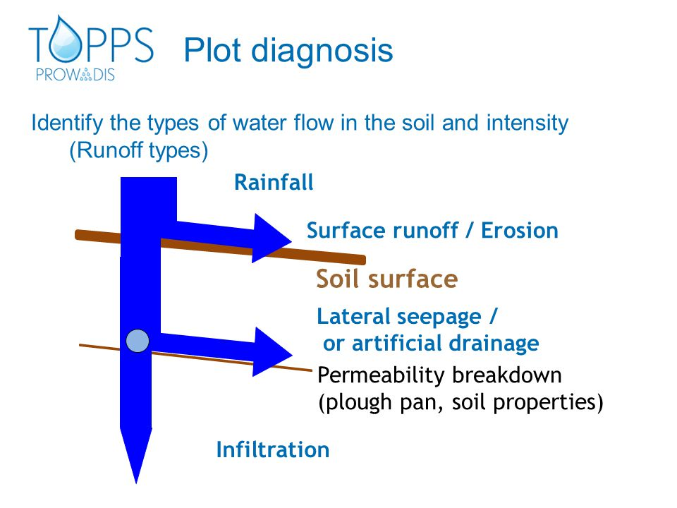 Identify the types of water flow in the soil and intensity (Runoff types) Soil surface Permeability breakdown (plough pan, soil properties) Rainfall L