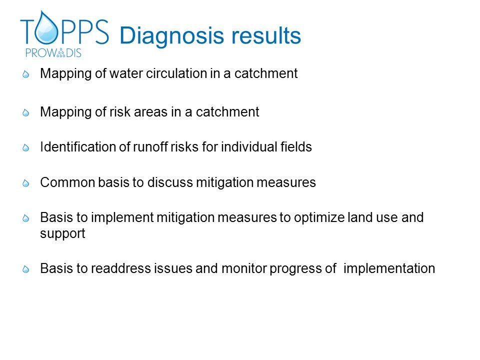 Diagnosis results Mapping of water circulation in a catchment Mapping of risk areas in a catchment Identification of runoff risks for individual fields Common basis to discuss mitigation measures Basis to implement mitigation measures to optimize land use and support Basis to readdress issues and monitor progress of implementation