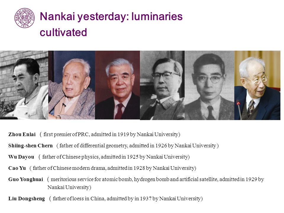 Zhou Enlai ( first premier of PRC, admitted in 1919 by Nankai University) Shiing-shen Chern ( father of differential geometry, admitted in 1926 by Nankai University ) Wu Dayou ( father of Chinese physics, admitted in 1925 by Nankai University) Cao Yu ( father of Chinese modern drama, admitted in 1928 by Nankai University) Guo Yonghuai ( meritorious service for atomic bomb, hydrogen bomb and artificial satellite, admitted in 1929 by Nankai University) Liu Dongsheng ( father of loess in China, admitted by in 1937 by Nankai University) Nankai yesterday: luminaries cultivated