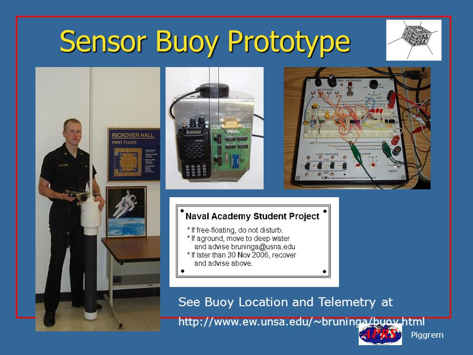 Sensor Buoy Prototype Piggrem See Buoy Location and Telemetry at http://www.ew.unsa.edu/~bruninga/buoy.html