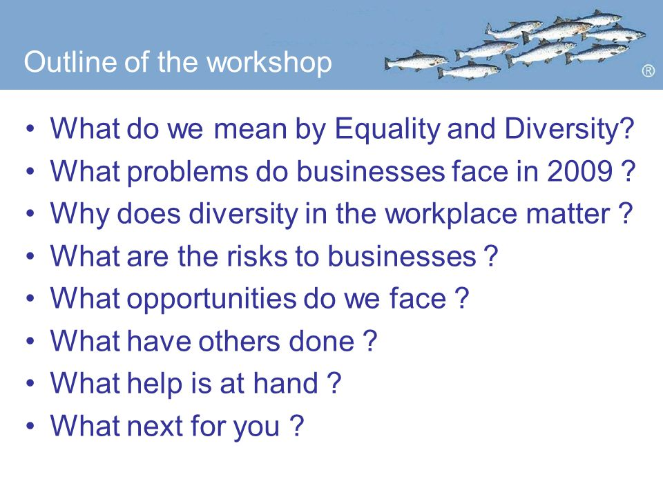 Outline of the workshop What do we mean by Equality and Diversity.